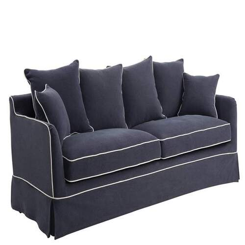 Noosa 3 Seat sofa cover - navy with white piping